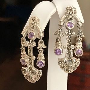 Vintage Amethyst & Marcasite Chandelier Earrings